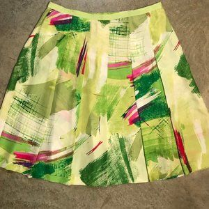 👗 Abstract Silk Pleated A Line Skirt